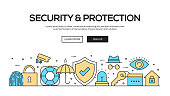 Security and Protection Flat Line Web Banner Design