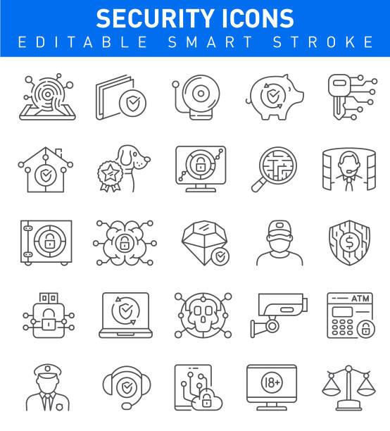 ilustraciones, imágenes clip art, dibujos animados e iconos de stock de iconos de seguridad y protección. trazo editable colección - robo de identidad