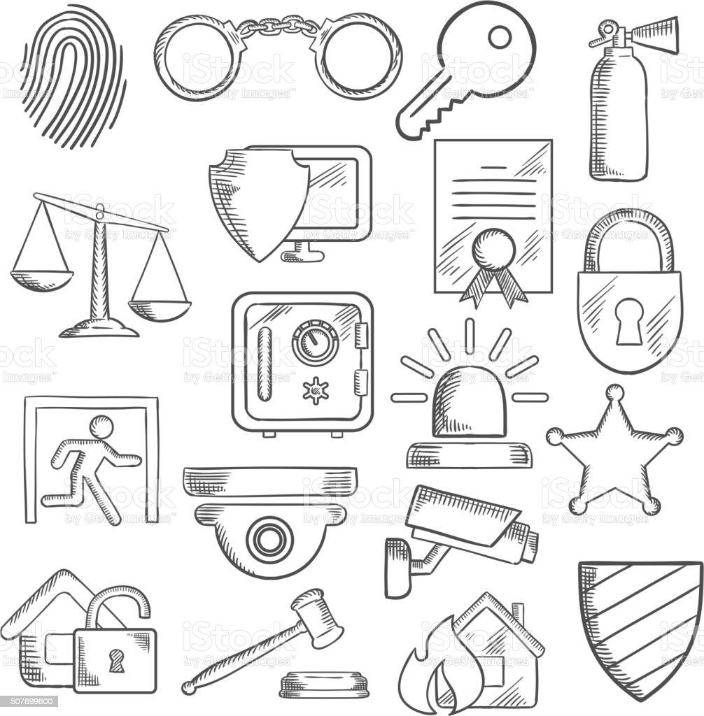 Segurança e proteção ícones em estilo de desenho - ilustração de arte em vetor