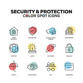 Security and Protection icons. Vector line icons set. Premium quality. Modern outline symbols and pictograms.