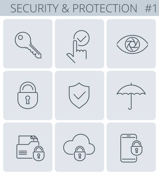 Security and protection line symbols. Vector thin outline icon set. vector art illustration
