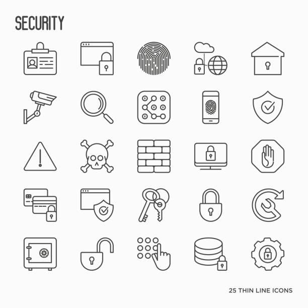 sicherheit und schutz dünne linie symbole satz: daten, überwachungskamera, finger-print, elektronische schlüssel, passwort, wecker, safe. vektor-illustration. - wesen stock-grafiken, -clipart, -cartoons und -symbole