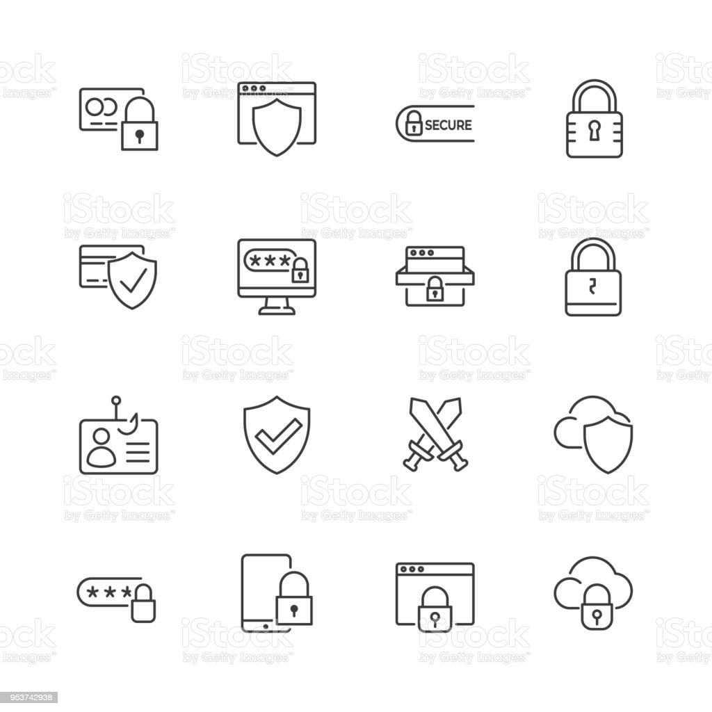 Security and protection vector line icons. Editable stroke. - Royalty-free Anzol de Pesca arte vetorial