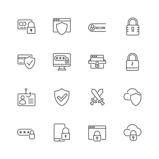 Security and protection vector line icons. Editable stroke. Security and protection vector line icons. Editable stroke. eps 10 locking stock illustrations