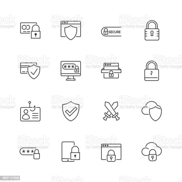 Security And Protection Vector Line Icons Editable Stroke - Arte vetorial de stock e mais imagens de Anzol de Pesca