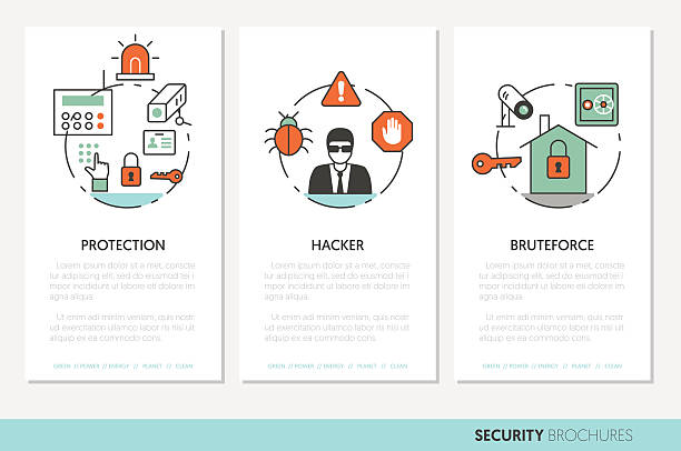 illustrations, cliparts, dessins animés et icônes de security and safety business brochures template - polices ligne fine
