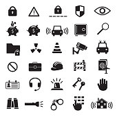 Security and safety vector icon set, icons such as security camera, handcuffs, car alarm, keys and others