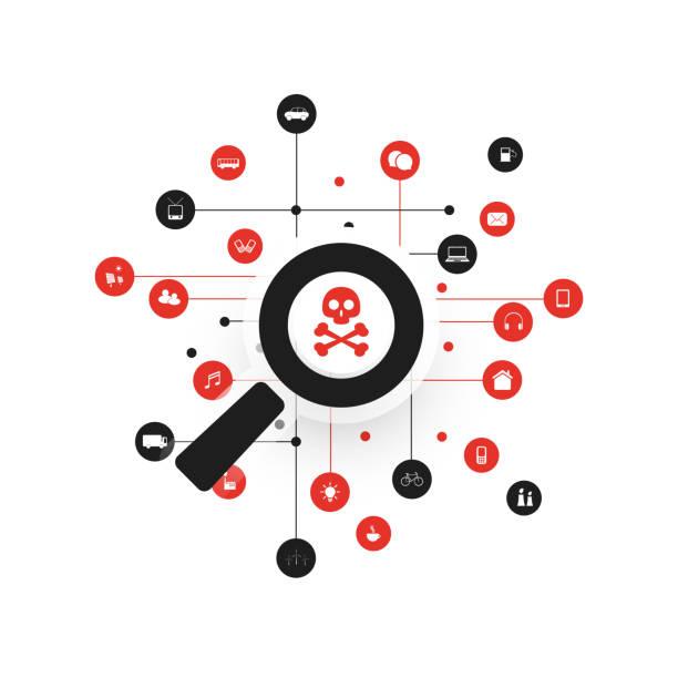 stockillustraties, clipart, cartoons en iconen met security audit, virus scanning, schoonmaak, elimineren malware effecten en schade - it security conceptontwerp - kwetsbaarheid