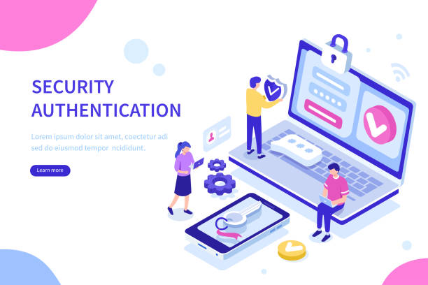 security authentication Security authentication concept. Can use for web banner, infographics, hero images. Flat isometric vector illustration isolated on white background. validation stock illustrations