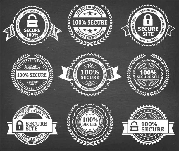 Security Badge black & white royalty free vector icon set Security Badge black & white royalty free vector icon set. This image features a set of roaylty free vector icons in white on a chalkboard. The icons can be used separately or as part of a set. The chalk board has a slight texture. pattern stock illustrations