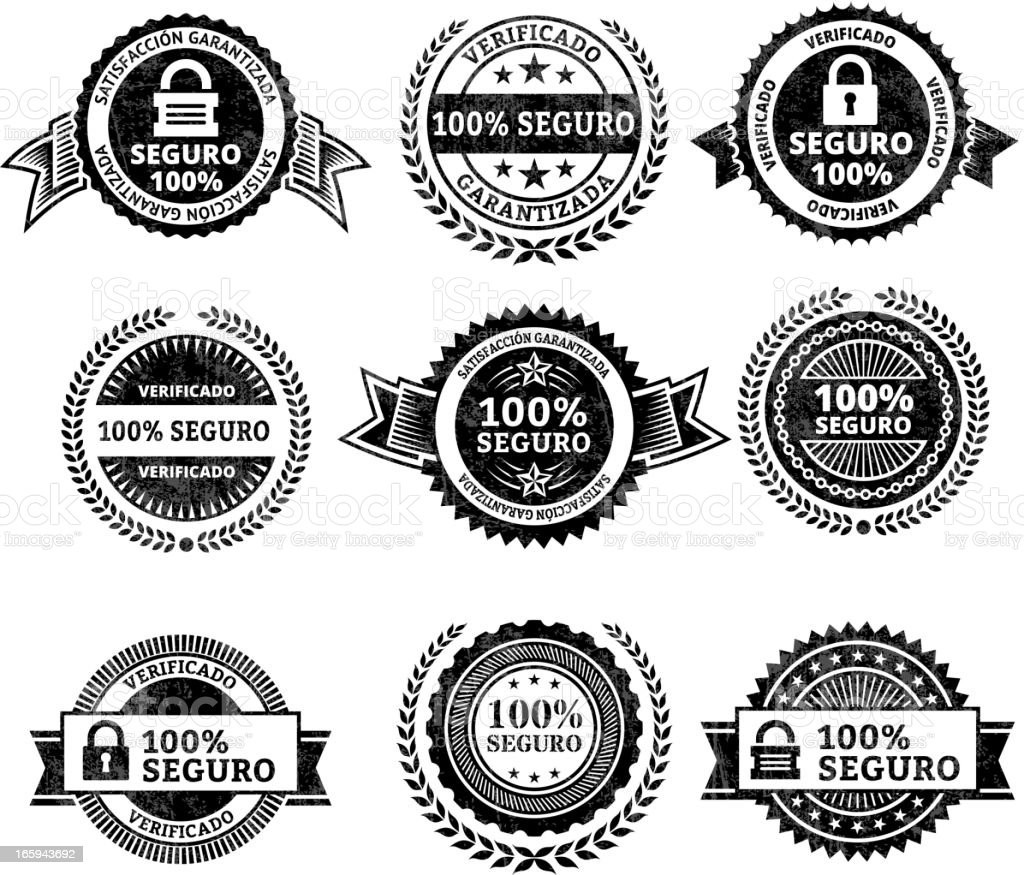 Security badges in Spanish vector art illustration