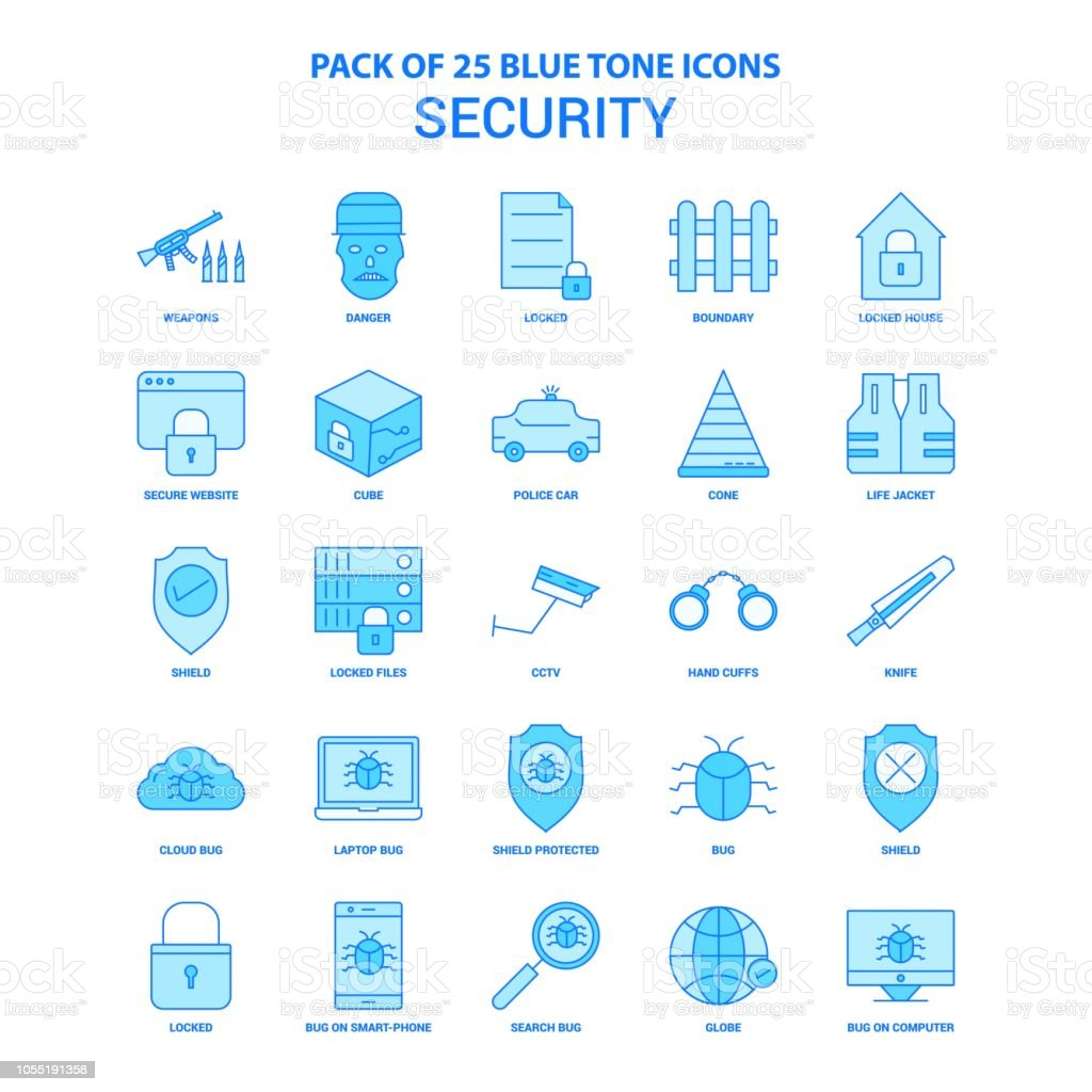 Security Blue Tone Icon Pack 25 Icon Sets Stock Vector Art & More