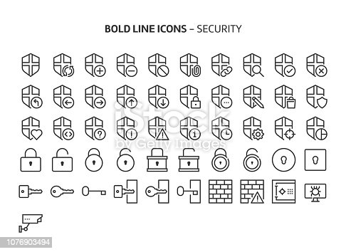Security, bold line icons. The illustrations are a vector, editable stroke, 48x48 pixel perfect files. Crafted with precision and eye for quality.