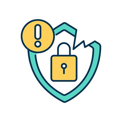 Security breach RGB color icon