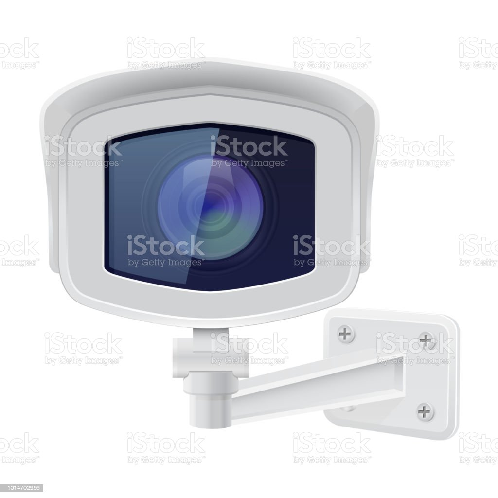CCTV câmera de segurança. Vista frontal. Sistema de vigilância branco  ilustração de cctv câmera 12c8e28b41