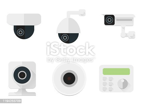 Security camera icons set. CCTV flat color simbols for a security and shops. Various types of cameras for outdoor and home, dome, cabinet, PTZ, wifi. Surveillance video system for guard and police.