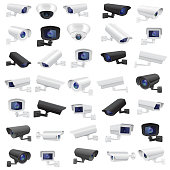CCTV security camera. Large collection of black and white surveillance devices. Vector 3d illustration isolated on white background