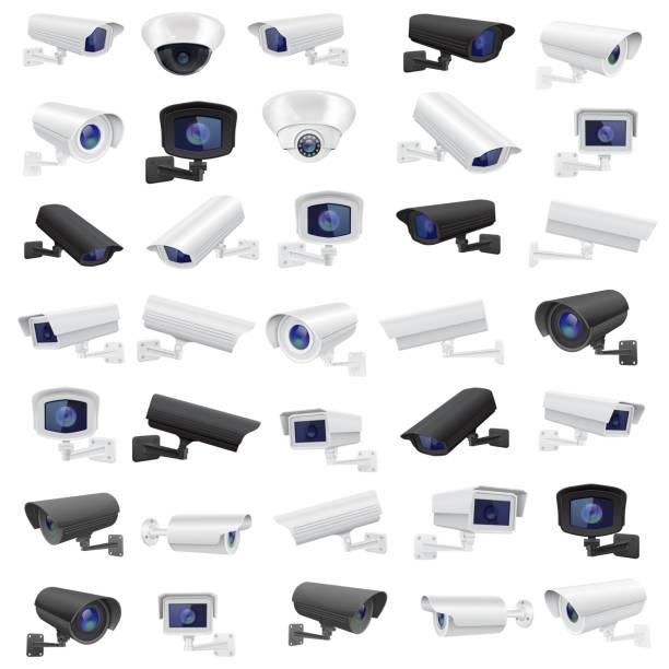閉路電視監控攝像頭大量收集黑白監視設備向量藝術插圖