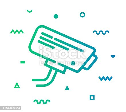 Security camera outline style icon design with decorations and gradient color. Line vector icon illustration for modern infographics, mobile designs and web banners.