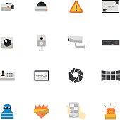 Security camera or CCTV icon set, Vector illustration design.
