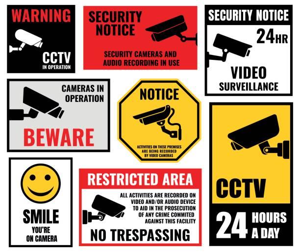 security camera signs, cctv stickers security camera sticker, video surveillance symbols, cctv icons surveillance stock illustrations