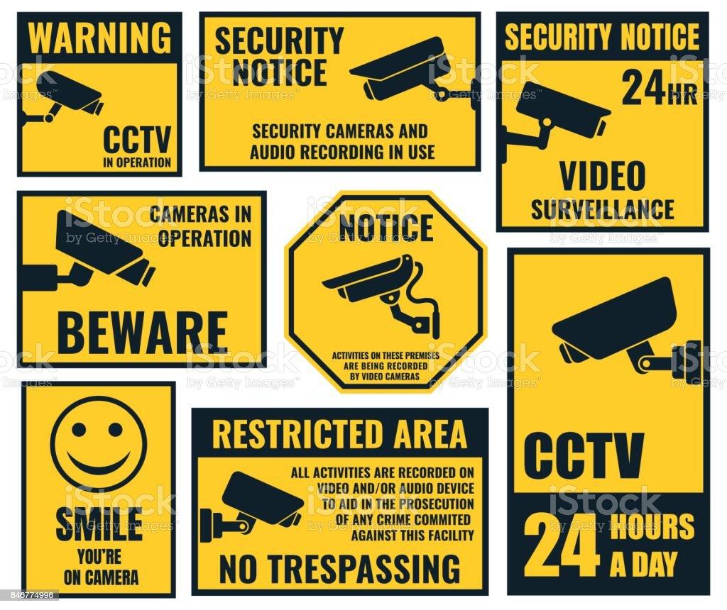 Security Camera Sticker Video Surveillance Symbols Cctv