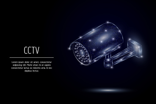 CCTV security camera vector geometric polygonal background