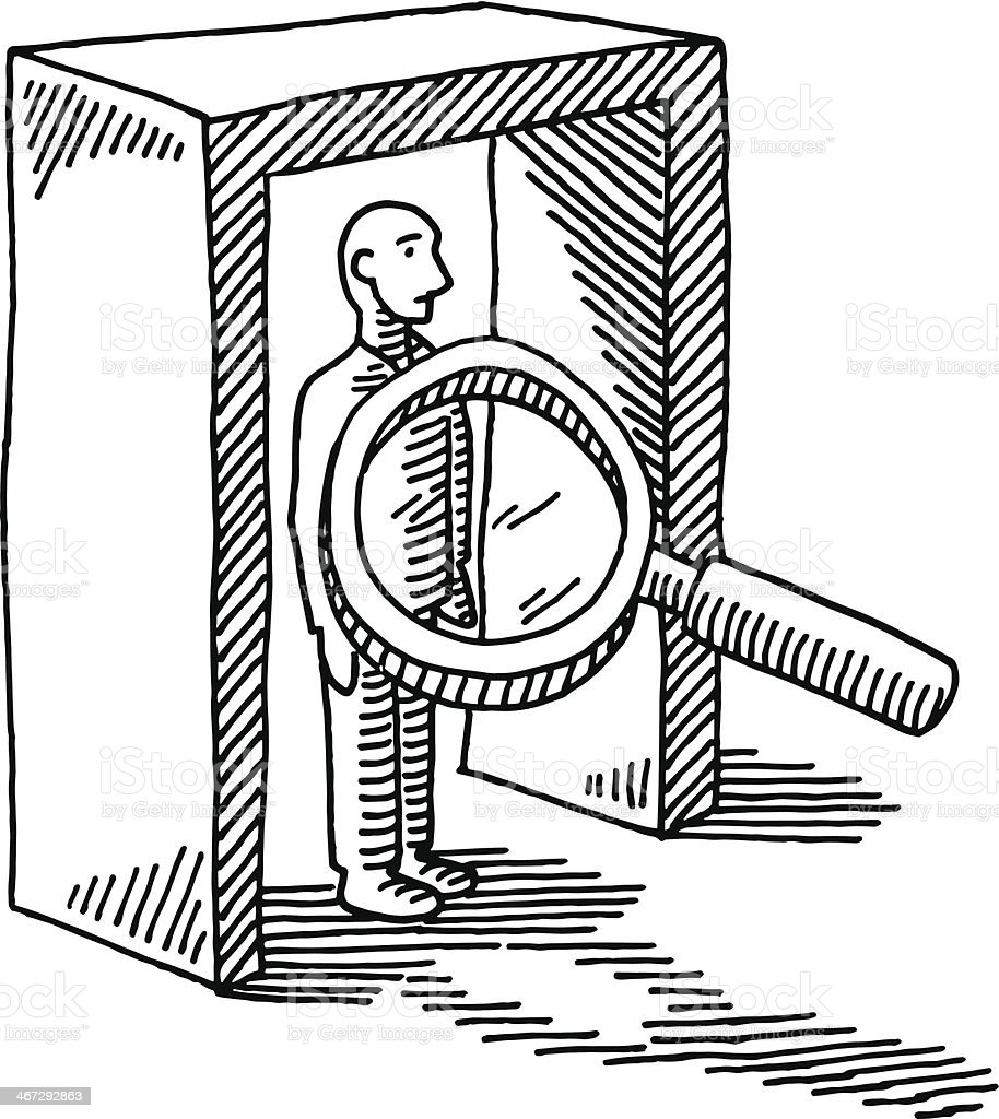 Hand-drawn vector drawing of a Security Check at the Airport, a Loupe...