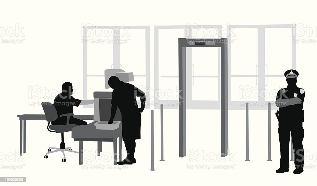 Security Check Vector Silhouette vector art illustration