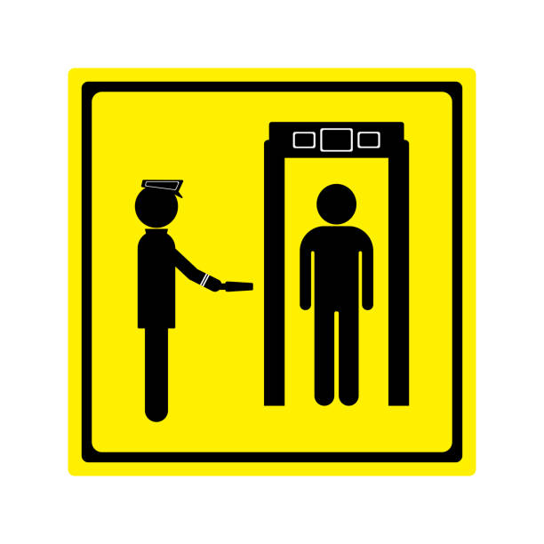Security checkpoint airport sign vector art illustration