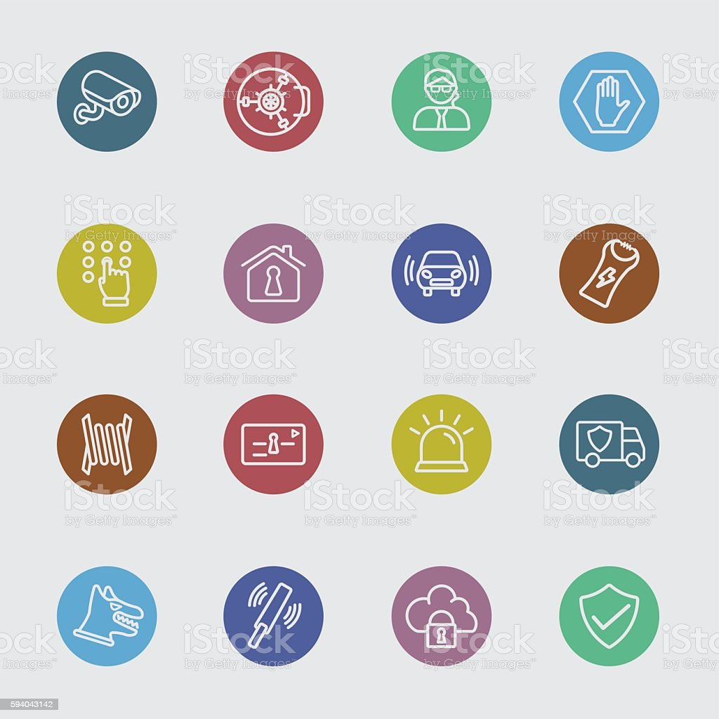 Security color circles line icon vector art illustration