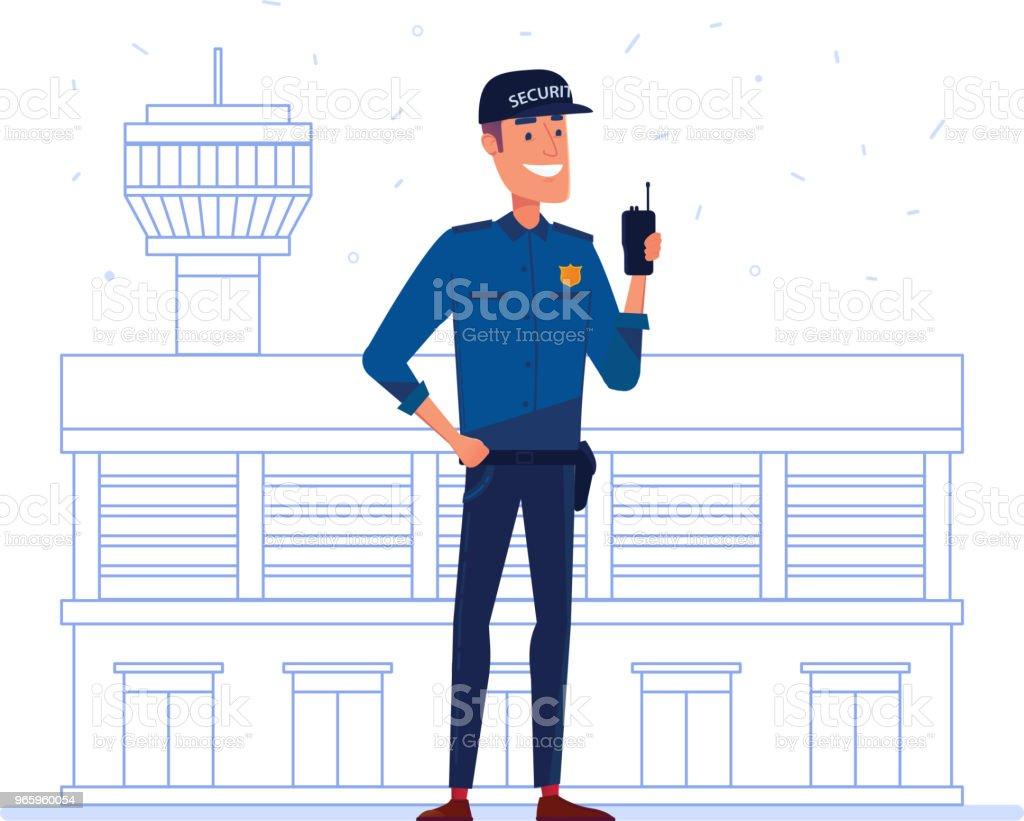 Medewerker van het bedrijf van de veiligheid met draagbare radio fenikshal luchthaven - Royalty-free Alarm vectorkunst