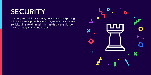Security Concept. Geometric Pop Art and Retro Style Web Banner and Poster Concept with Rook Icon.