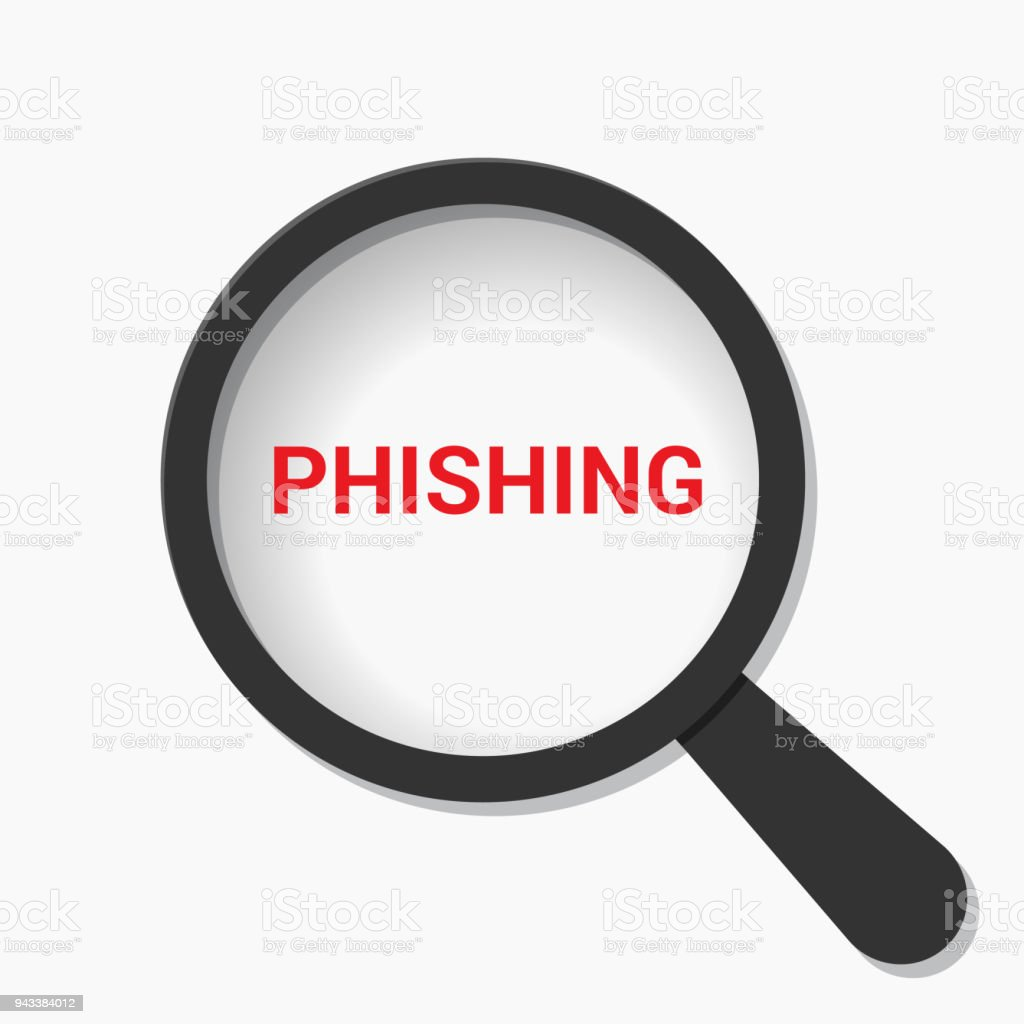 Security Concept: Magnifying Optical Glass With Words Phishing vector art illustration