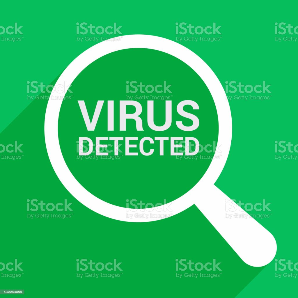 Security Concept: Magnifying Optical Glass With Words Virus Detected vector art illustration