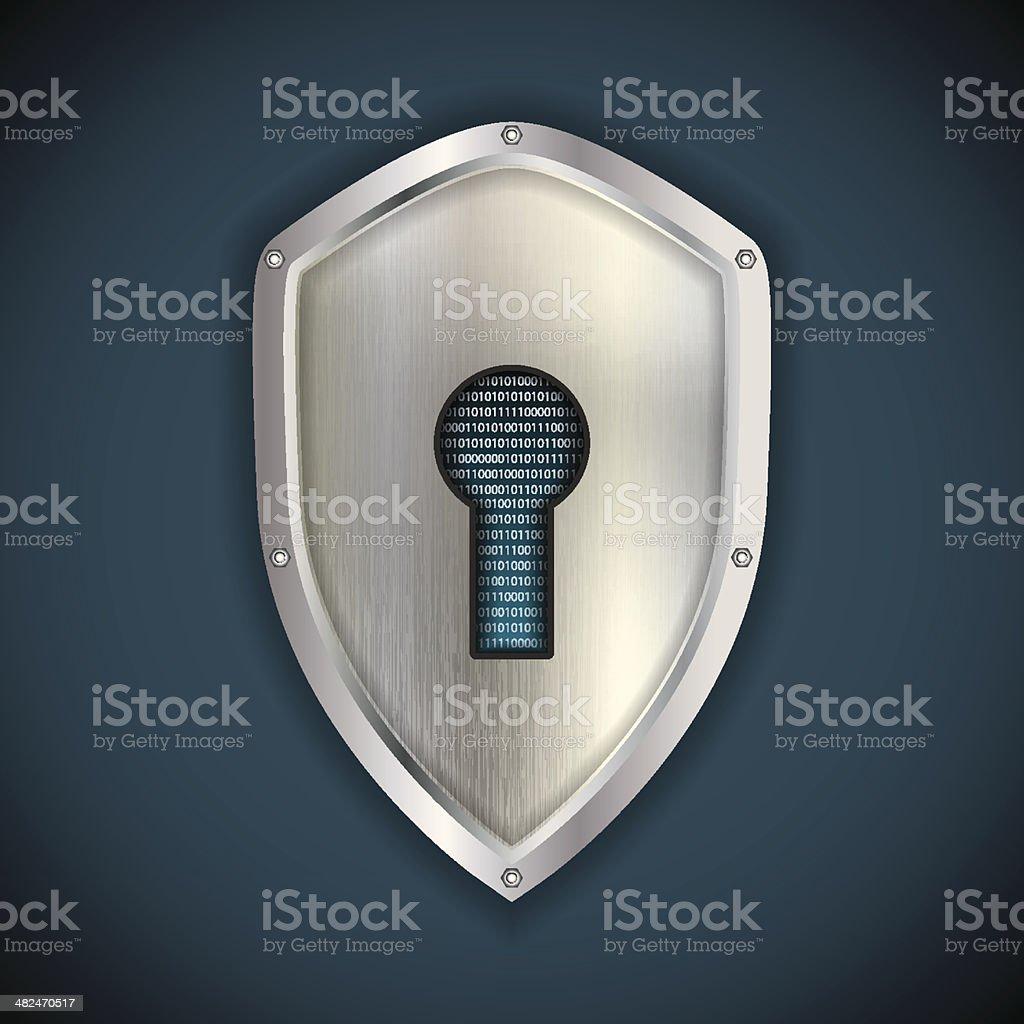Security concept: metal silver shield royalty-free stock vector art