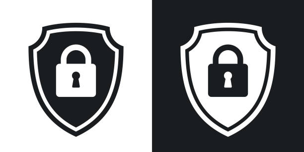 Security concept simple icon on black and white background Two-tone version of vector Protective shield icon with the image of a padlock. Security concept simple icon on black and white background locking stock illustrations