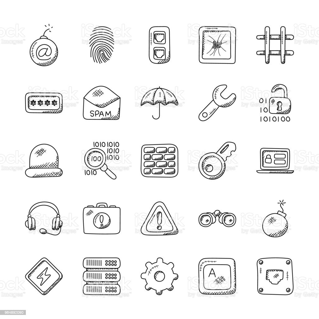Security Creative Doodle Icons royalty-free security creative doodle icons stock vector art & more images of binoculars