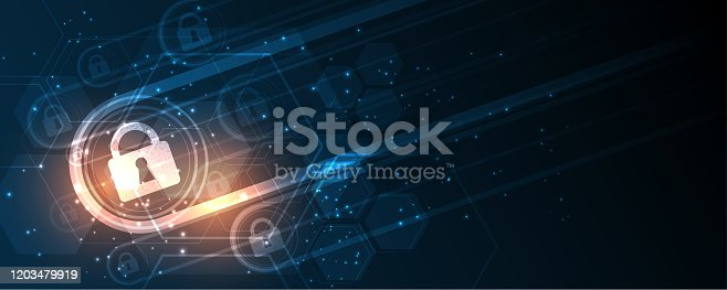 istock Security cyber digital concept Abstract technology background protect system innovation vector illustration 1203479919