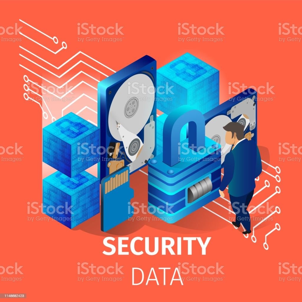 Security Data Banner Man Working In Data Center Stock Illustration Download Image Now Istock