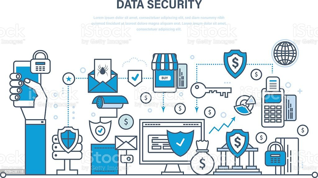 Security, data integrity, deposits, guarantee vector art illustration