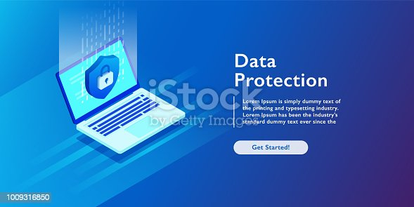 Security Data Protection Information Lock digital technology isometric vector illustration