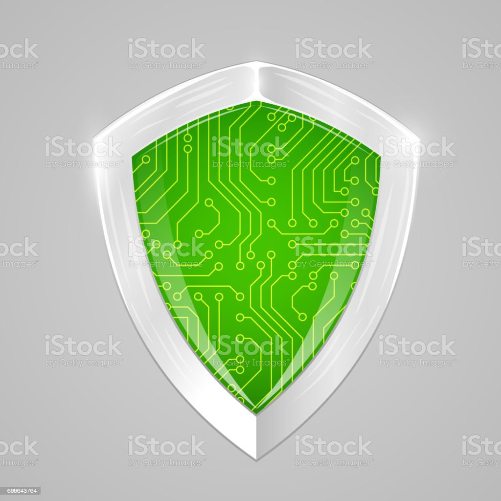 Security digital shield concept. Web security or cryptocurrency sign vector art illustration
