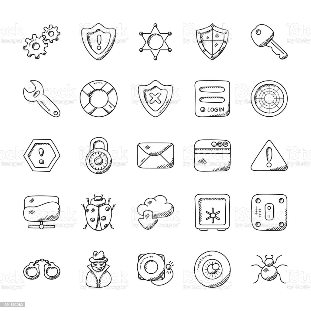 Security Doodle Icon Pack royalty-free security doodle icon pack stock vector art & more images of antivirus software