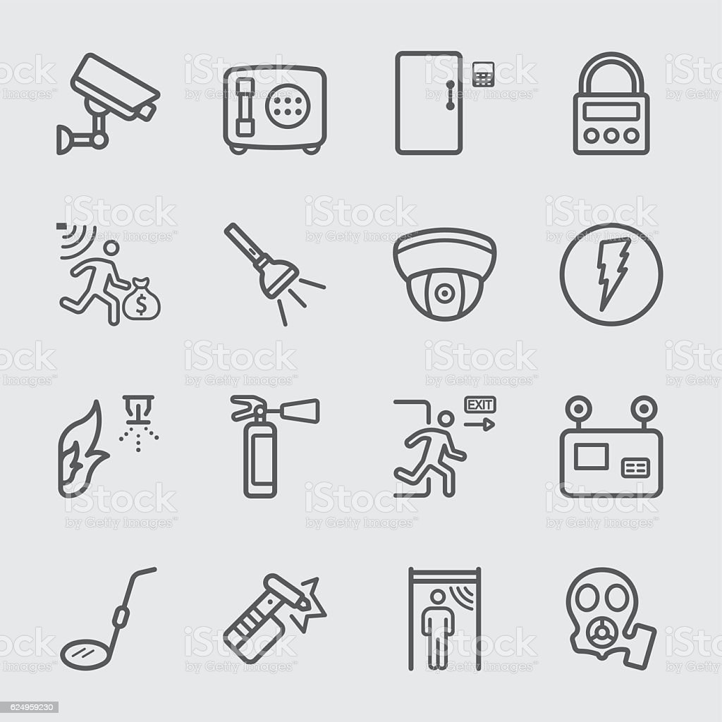 Security equipment line icon vector art illustration