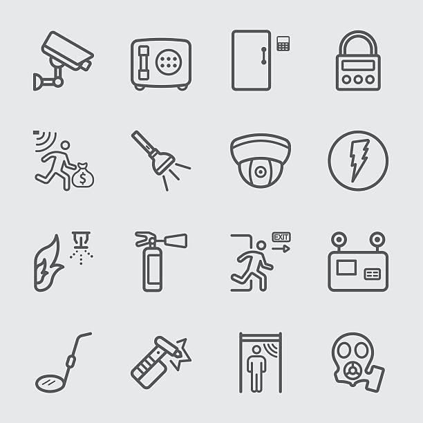 Security equipment line icon Security equipment line icon emergency equipment stock illustrations