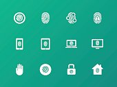 Security fingerprint icons on green background.