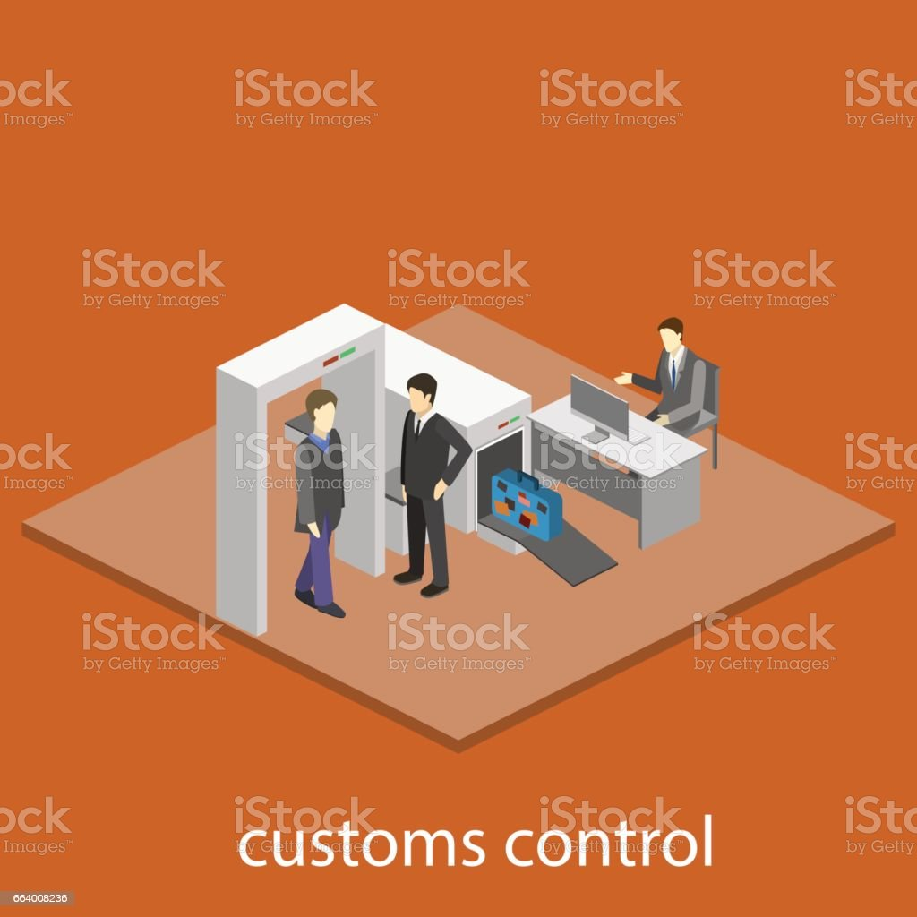 Security gates with metal detectors in airport vector art illustration