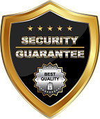 Security guarantee gold shield medal with five stars.