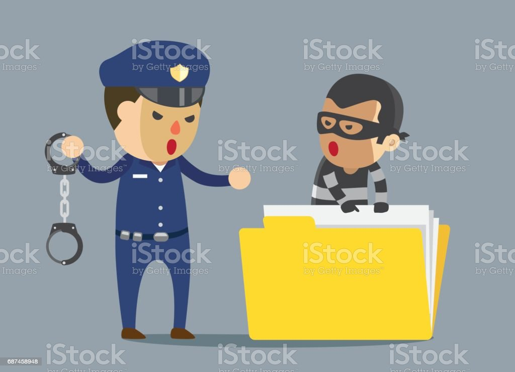 Security guard arrest bandit with handcuff which robbery business data. vector art illustration